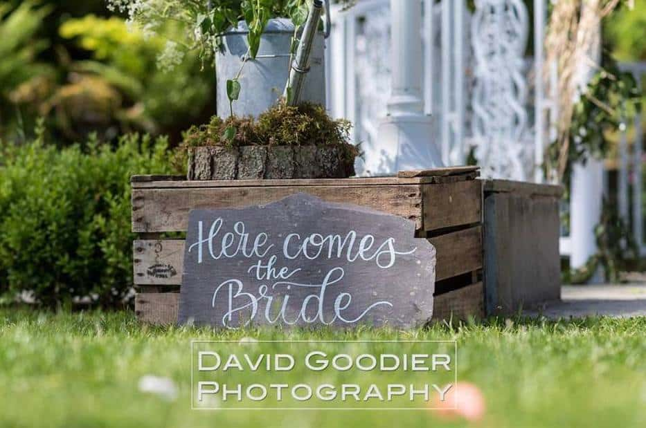 Rustic wedding sign Here Comes the Bride Broadoaks outdoor weddings