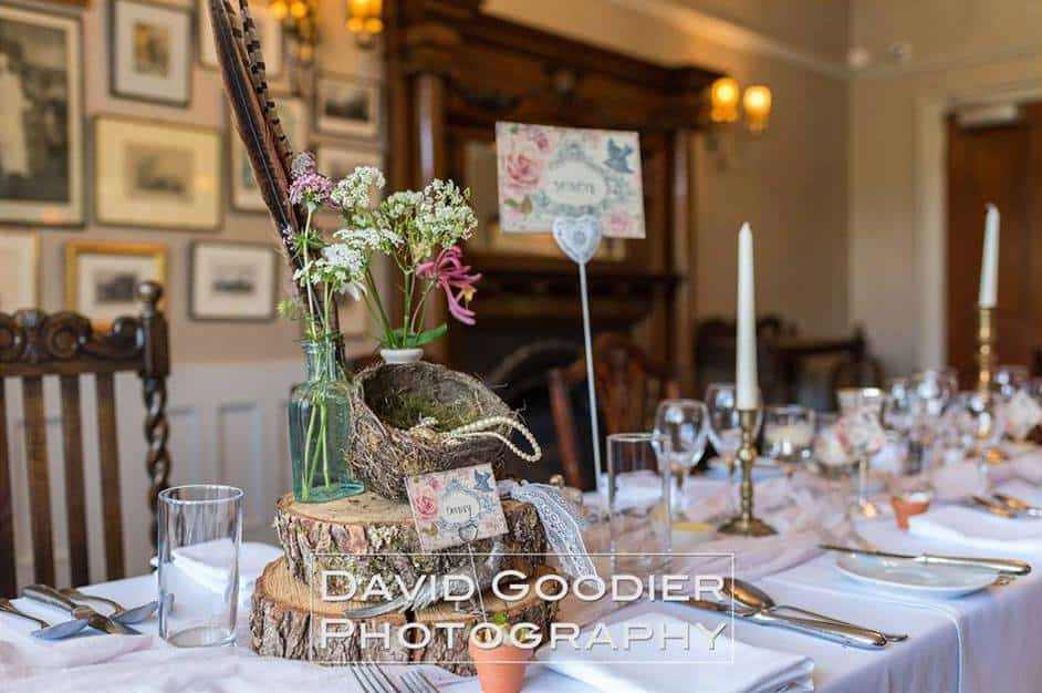 Rustic table setting at lake district wedding venue