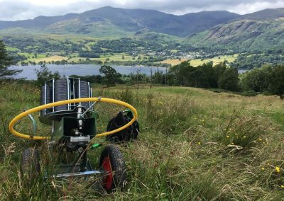 clay pigeon shooting wedding activity with view across the Lakes