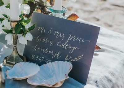 Hand written signage for weddings