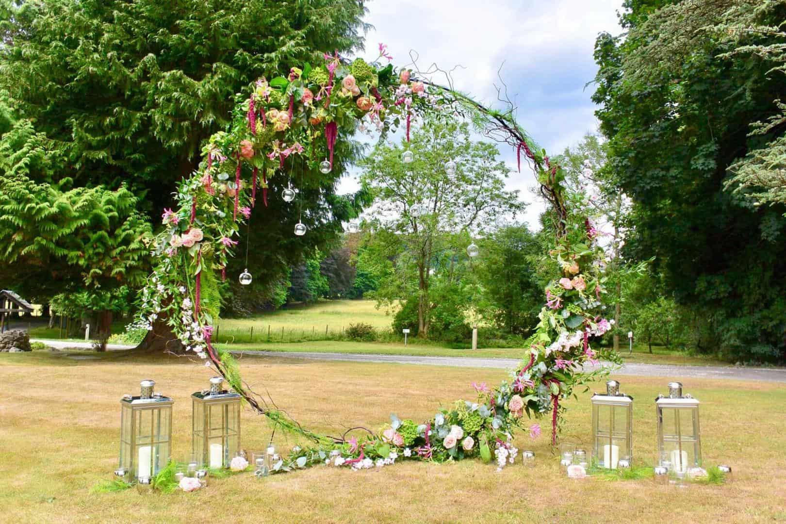 Diamond Hire Huge Flower Garland weddings in the Lake District