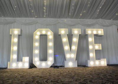 LOVE sign by Diamond Hire Lake District Wedding decor