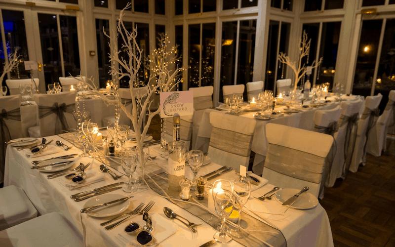 Winter vodka theme wedding tale setting