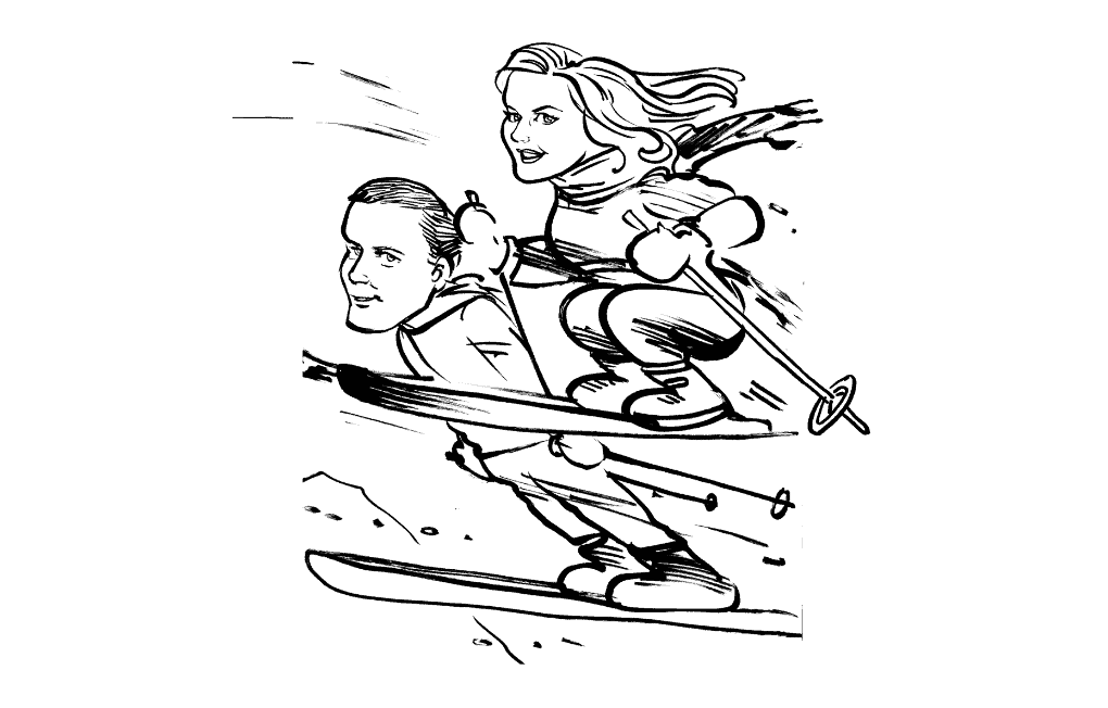 Wedding Kartoonist Cumbria sketch of married couple skiiing