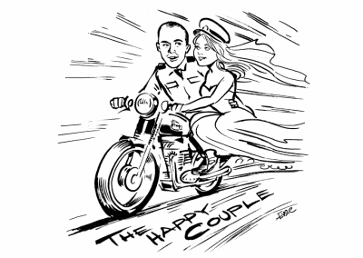 Wedding Kartoonist Cumbria sketch of married couple on motorbike