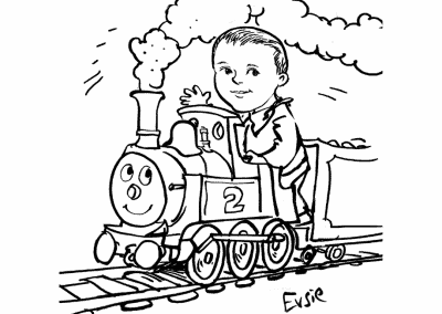 Wedding Kartoonist Cumbria sketch of little boy on a train